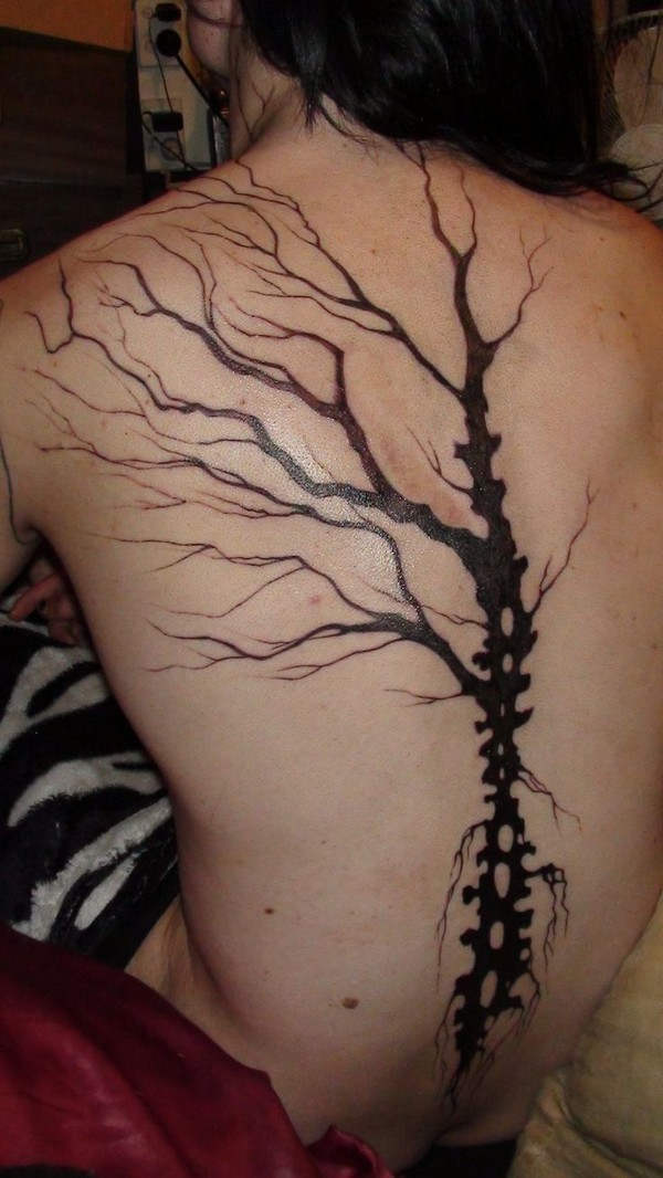 Awesome Spine Tree Tattoo