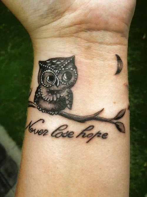 Baby Owl with Small Moon and Quote Tattoo