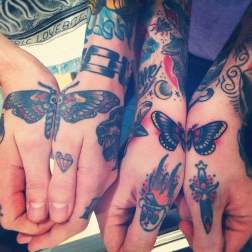Best Friend Butterfly Tattoos on Hand