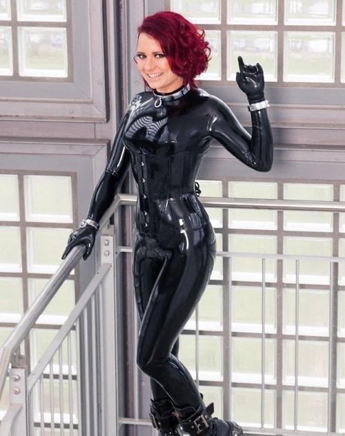 Black Latex Catsuit Girl