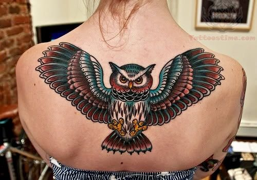 Center Back Colorful Owl Tattoo