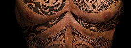Chest And Abdomen Polynesian Tattoo For Men