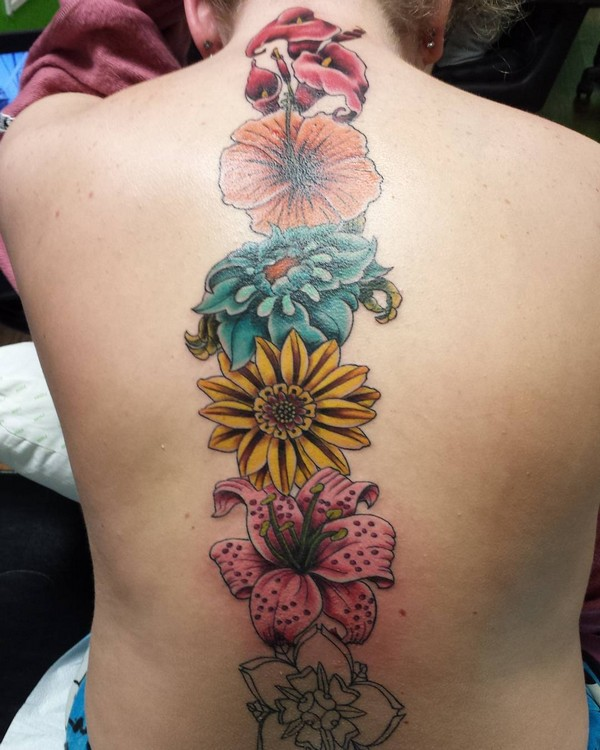 Colorful Flowers On Spine