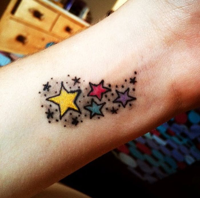 Female Wrist Star Tattoos Ideas