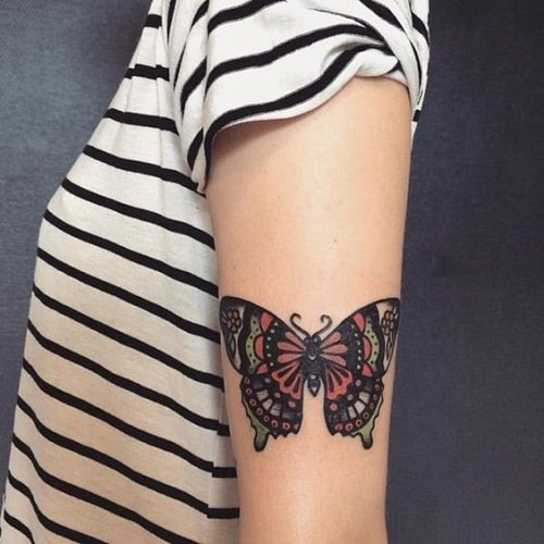 Cute Colorful Butterfly with Detailed Design Tattoo