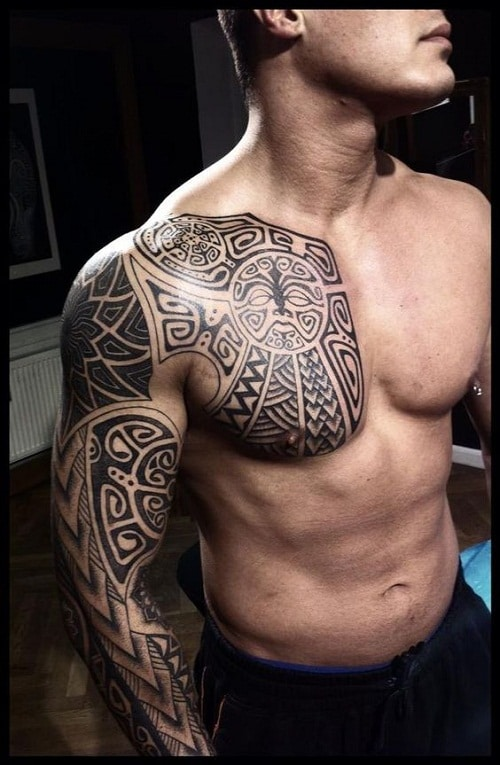 Enata Tiki Spear Head And Ocean Polynesian Tattoo