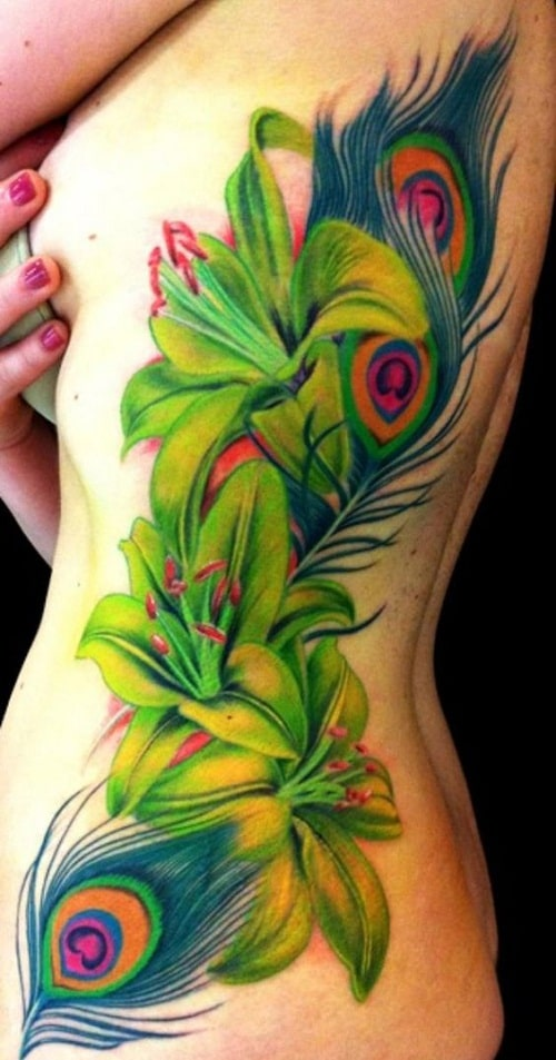 Flowers With Peacock Feathers Tattoo Ideas