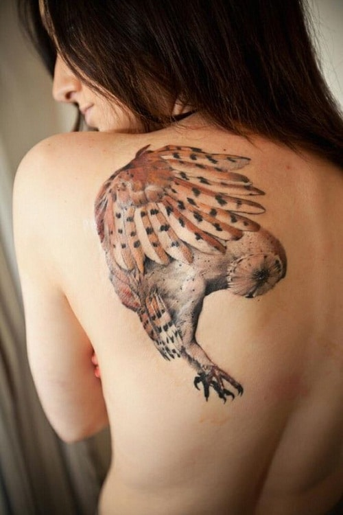 Flying Brown Owl Tattoos