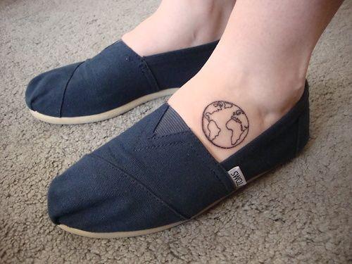 Globe Foot Tattoo