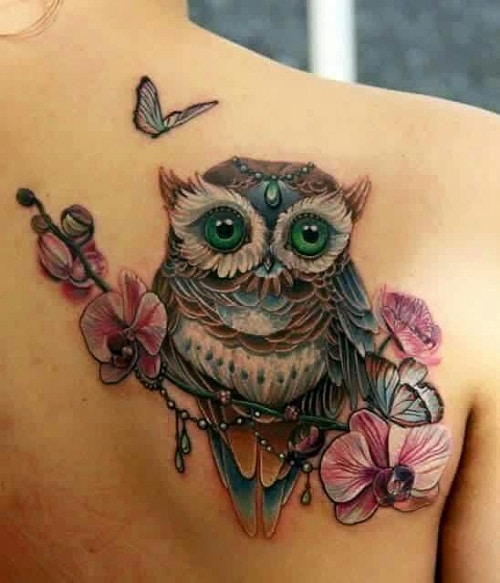 Gorgeous Owl with Gem, Flowers and Butterfly Tattoos