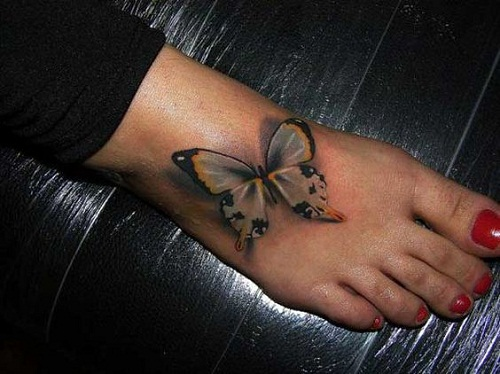 Gray, Yellow and Black Butterflies on Foot Tattoo
