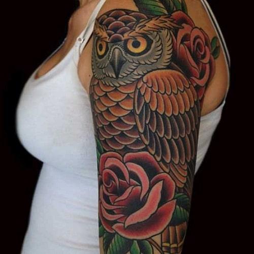 Half Sleeve Owl Tattoo Design