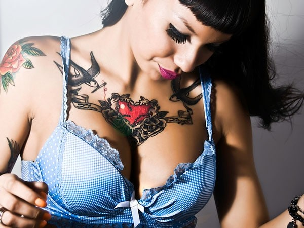 Heart Tattoo On Chest For Women