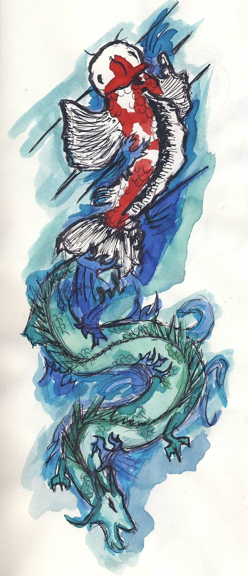 Koi Fish Dragon Tattoo Concept