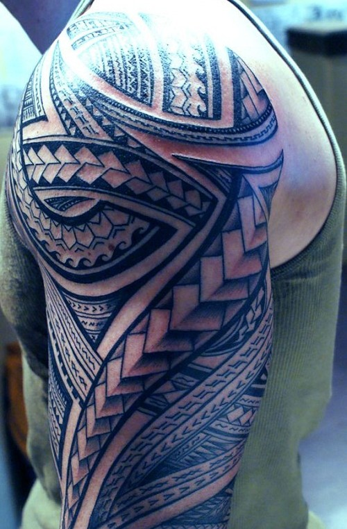 Ocean And Spear Head Polynesian Sleeve Tattoo