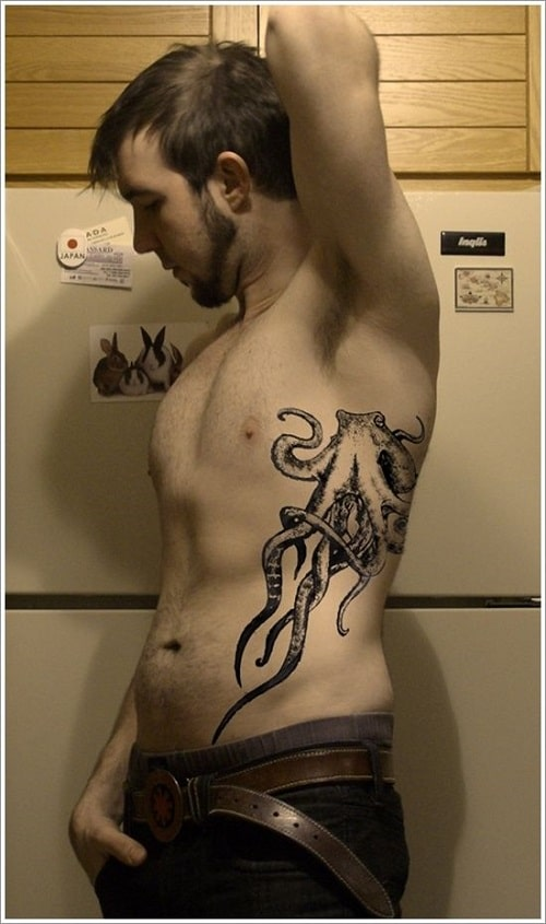 Octopus Side Tattoo For Men