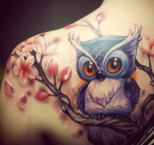 Owl on Cherry Blossom Branch Tattoo