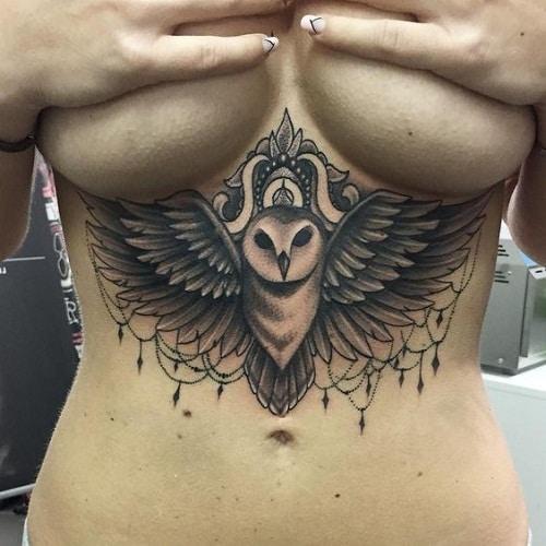 Owl with Gems Tattoo on Underbreast
