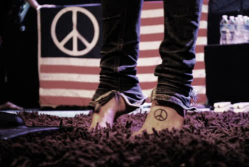Peace Sign Foot Tattoos