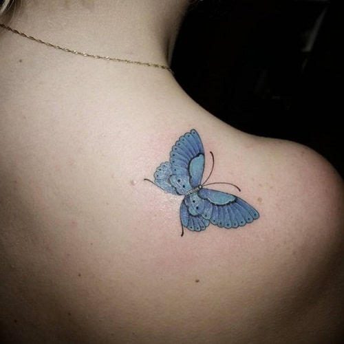 Gorgeous Blue Butterfly Tattoo