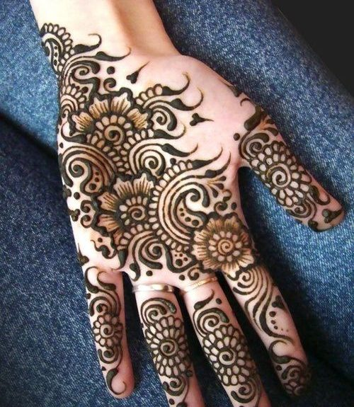 Flowers and Swirls Arabic Mehndi Designs