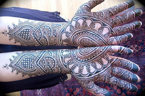 Mirror Heart Bridal Mehndi Designs