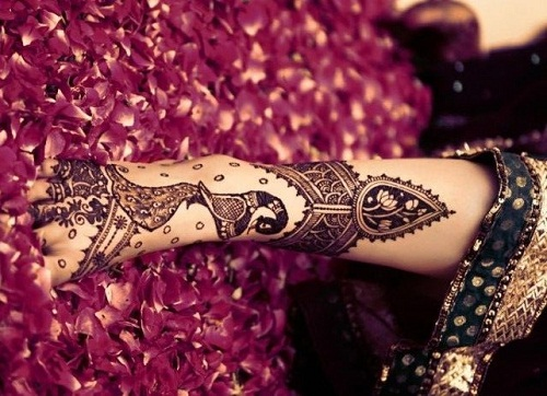 Pretty Flower and Peacock Bridal Mehndi Designs
