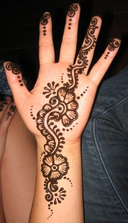 Flowers and Petals Brown Arabic Mehndi Tattoo Design