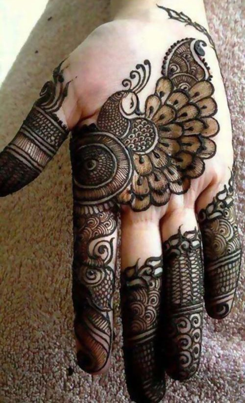 Peacock and Veil Arabic Mehndi Designs