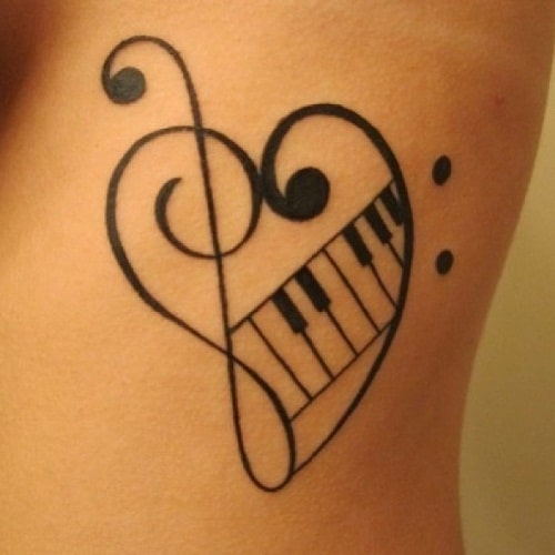 Piano and Heart Simple Mehndi Designs