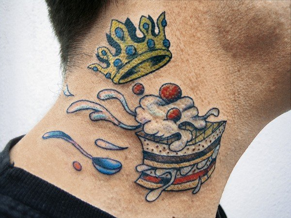 Crown Tattoo With Diamonds