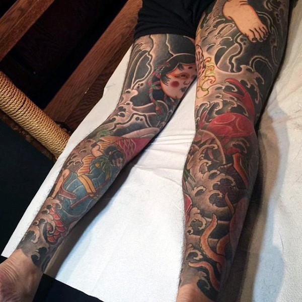 Full Leg Tattoo For Girl
