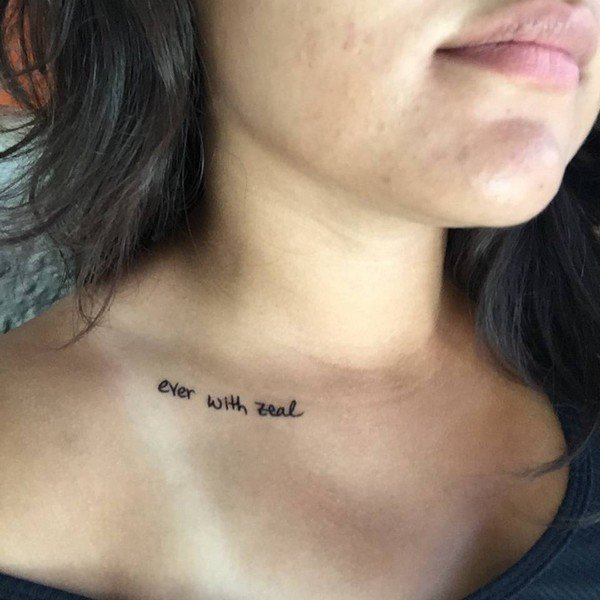 Collarbone Tattoo Little Quotes Ideas