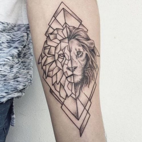 Geometric Lion Tattoo Pinterest