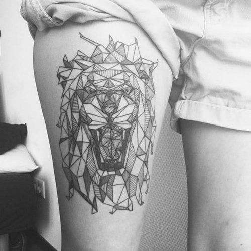 Geometric Animal Tattoo Lion
