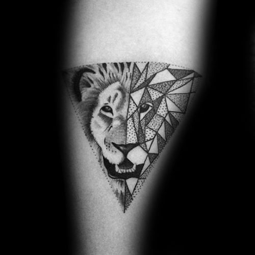 Geometric Dot Lion Tattoo