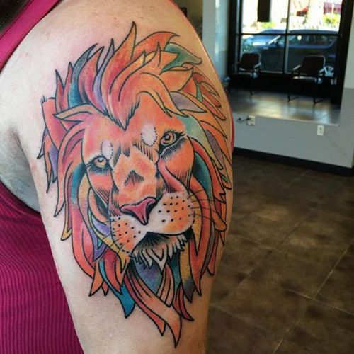 Lion Face Tattoo On Arm