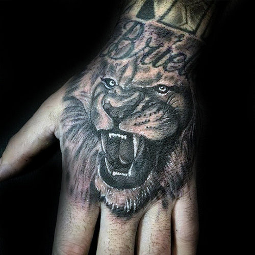 Lion Tattoo On The Hand