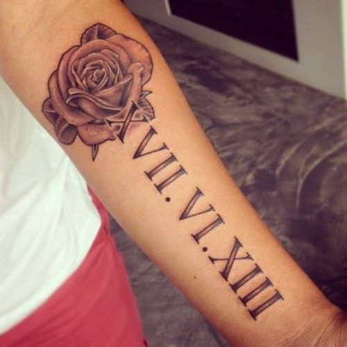 Roman Numeral Tattoo With Rose