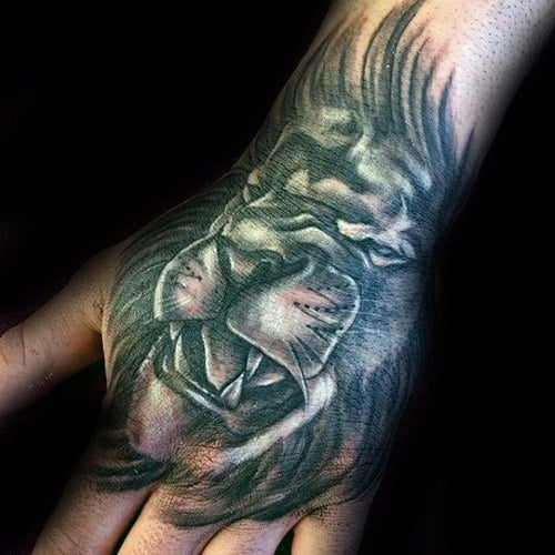 Tattoo Of Lion On Hand