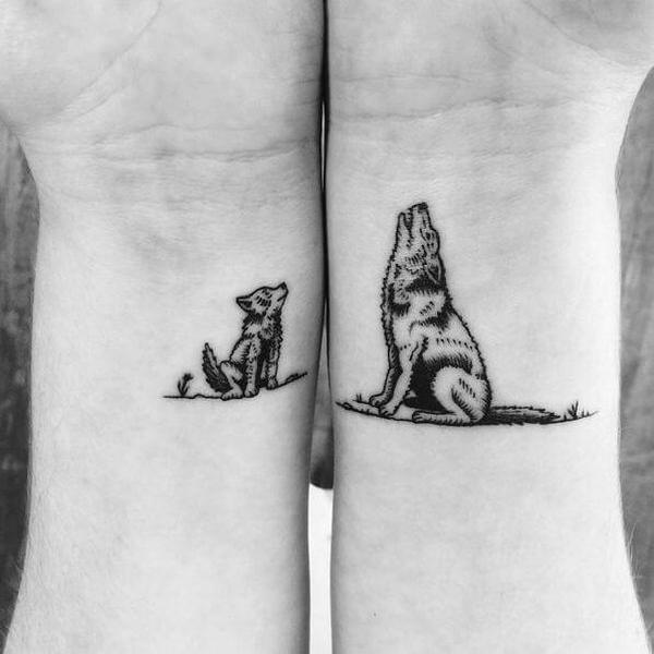 Matching Wolf Tattoos For Couples