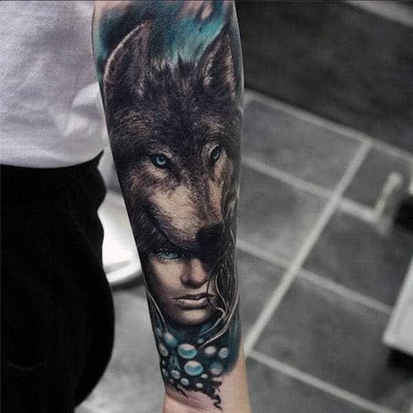 Native American Tribal Wolf Tattoos