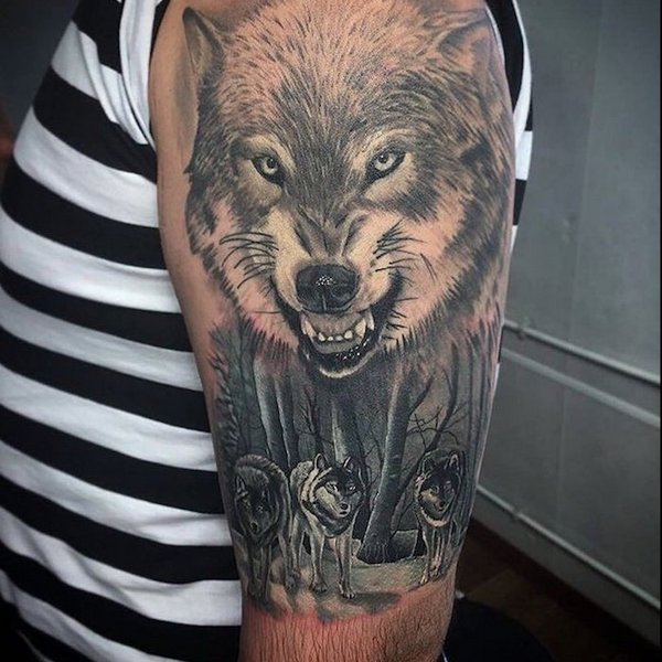 Photo Realistic Wolf Tattoo