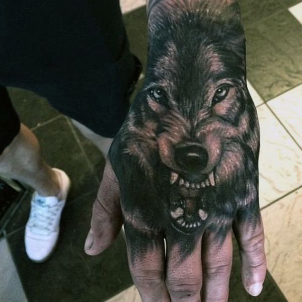 Realistic Wolf Face Tattoo