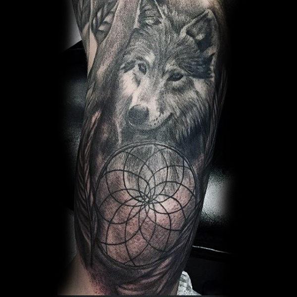 Wolf Dreamcatcher Tattoo Designs