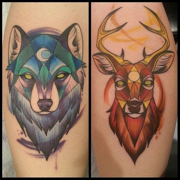 Wolf Tattoos For Couple