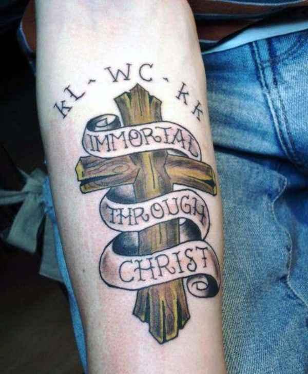 Cross Ribbon Tattoo