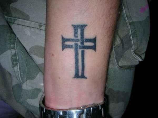 Geometric Cross Tattoo