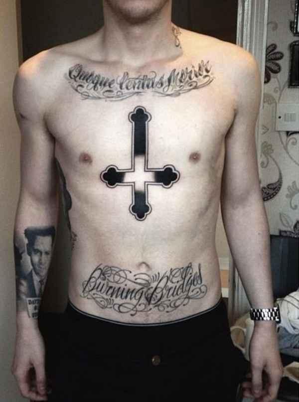 Upside Down Cross Tattoo