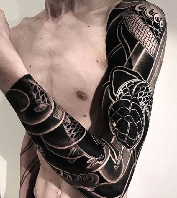 Black And Grey Japanese Tattoos